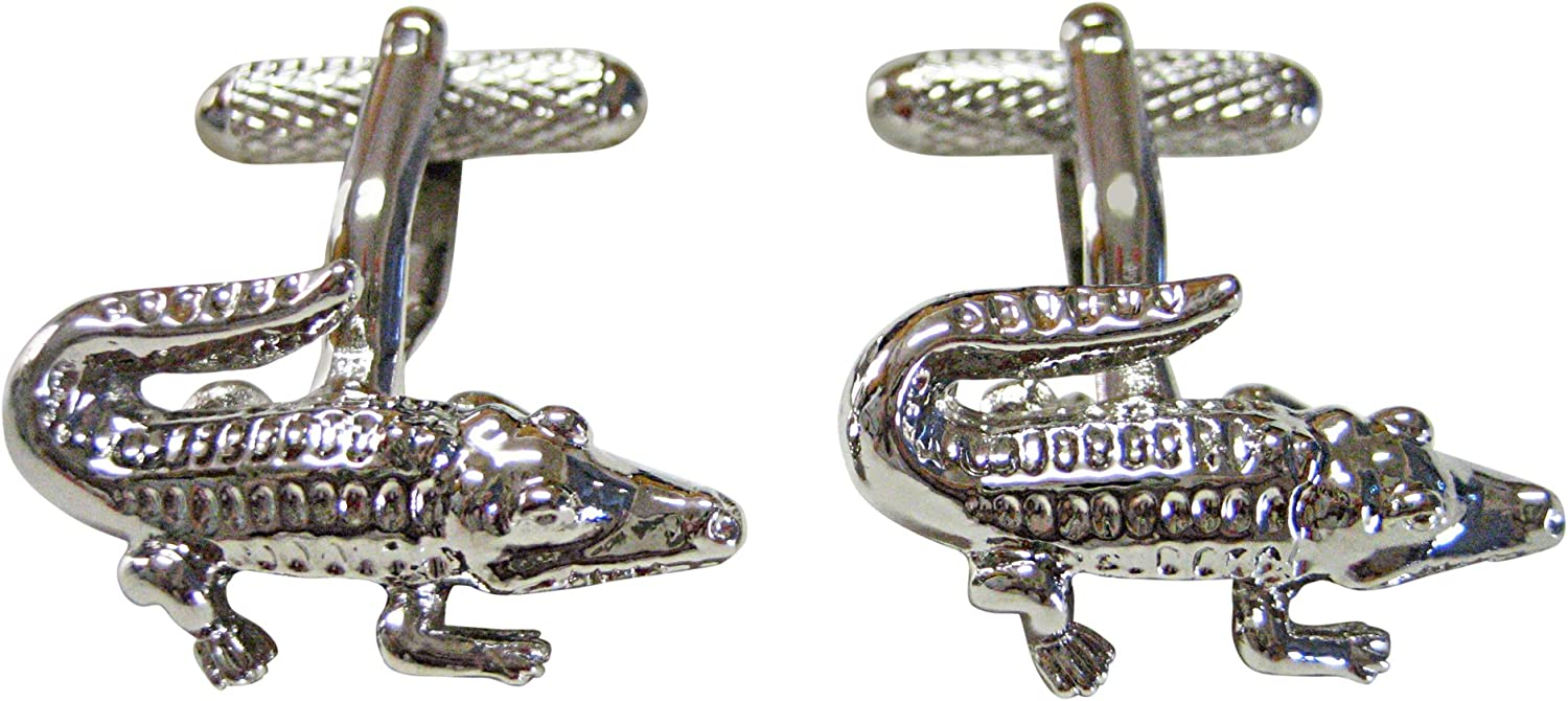 Silver Toned Alligator Cufflinks