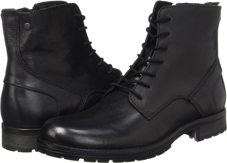 Jack /& Jones Jfworca Leather Black Bottes Classiques Homme