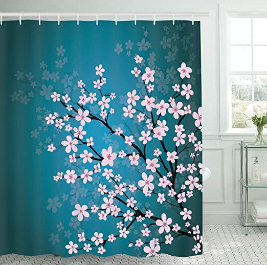 Amazon.com: Teal Pink Flowers Bathroom Shower Curtain Set with