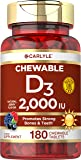 Chewable Vitamin D3 2000 IU (50mcg) Tablets | 180 Count | Natural Berry Flavor | Vegetarian, Non-GMO and Gluten Free…