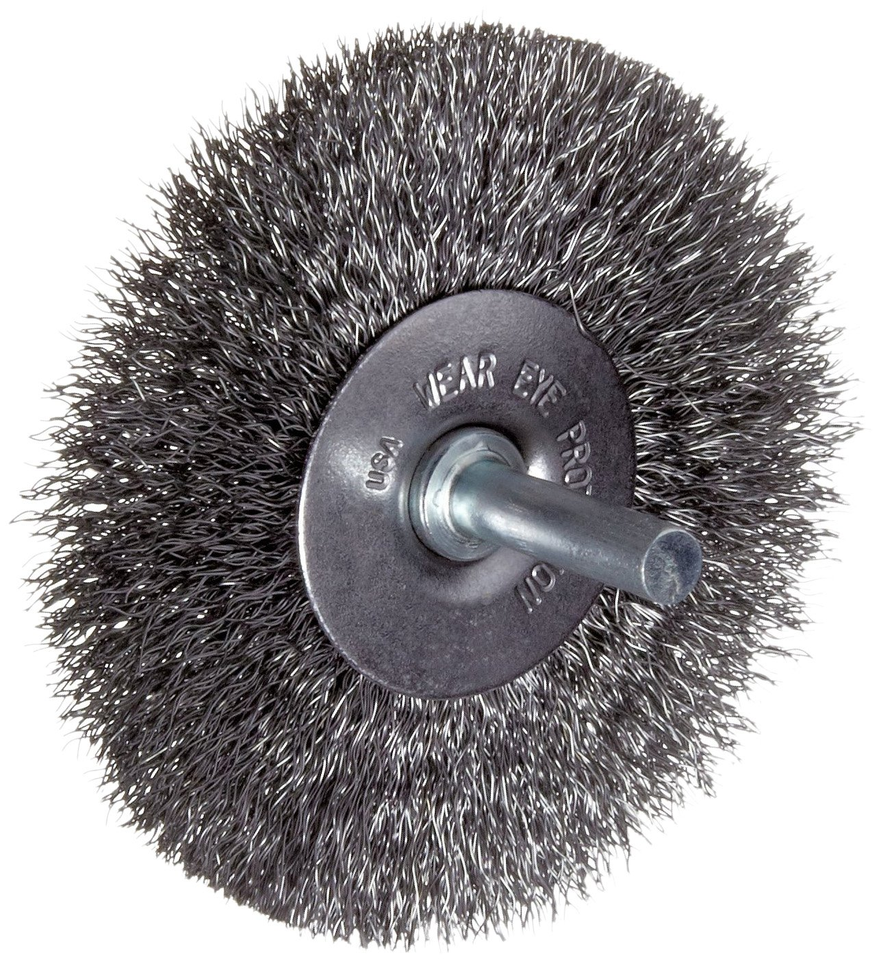 Weiler Vortec Pro Wire Wheel Brush, Round Shank, Carbon Steel, Crimped Wire, 3' Diameter, 0.012' Wire Diameter, 1/4' Shank, 13/16' Bristle Length, 20000 rpm