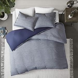 "Madison Park Raven 3 Piece Cotton Yarn Dye Duvet Cover Bedding Set, Full/Queen(90""x90""), Denim Blue"