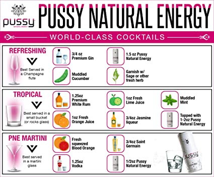 Pussy Natural Energy Drink | Naturally Sweetened and Flavored Drink |  Healthy, Vegan and