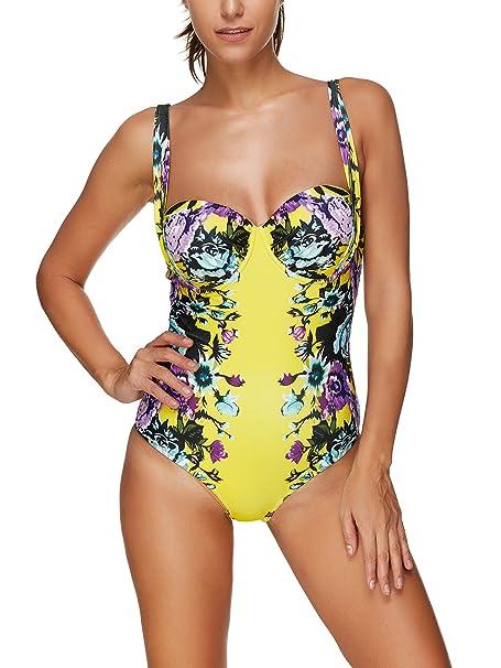 XFentech Retro Swimming Costume Bikini Swimwear One Piece Womens Ladies 1f28e3123