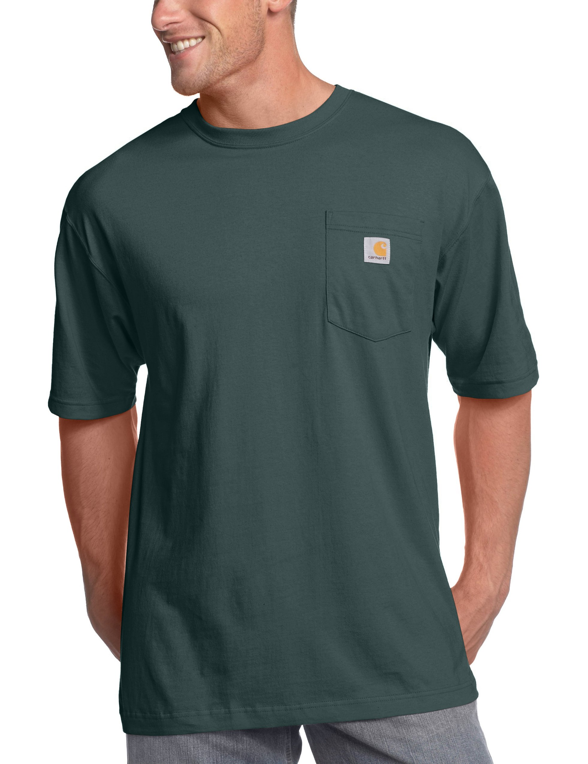 Carhartt Men's Big & Tall Workwear Pocket Short Sleeve T-Shirt Original Fit K87,Hunter Green,Large Tall by Carhartt (Image #1)
