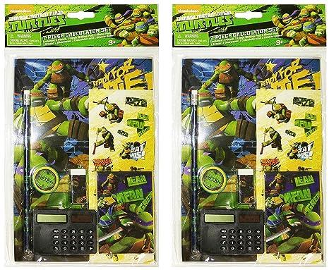 Set of 2 Teenage Mutant Ninja Turtles 7 Piece Calculator School Supply Set (Set of 2)