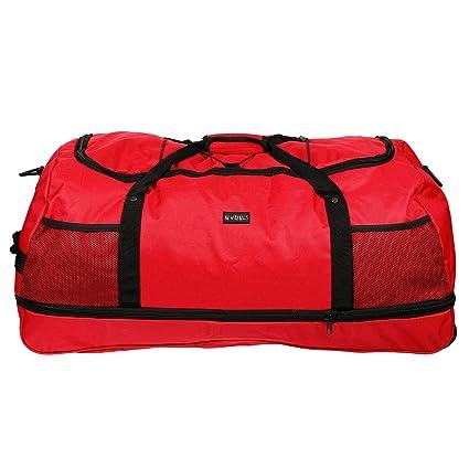 3 ruedas, bolsa de viaje, bolsa de deporte, bolsa de ocio sólo 1,4 kg, 80 cm, volumen hasta 140 L – 4 colores, RED (negro) - LL-211011-NR