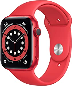 Apple Watch Series 6 (GPS, 44mm) - Red Aluminum Case with Red Sport Band (Renewed)