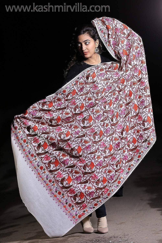 Kashmirvilla Creamy White Kashmiri Shawl With multi Coloured Kashida Work Embroidery Along With Chinar Pattern