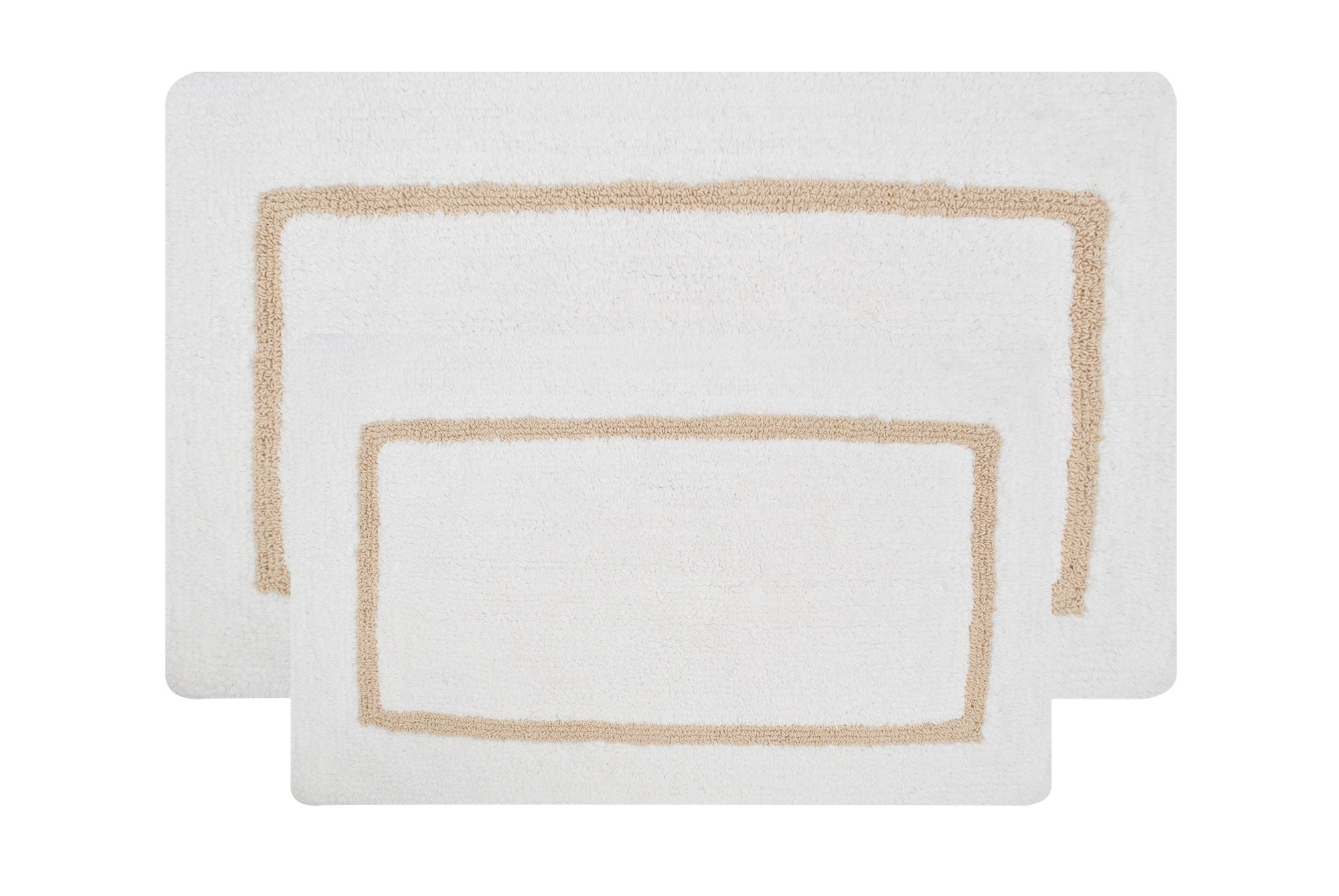 Value Homezz ( 2 Piece Bathmat Set ) Comely 100% Cotton Tufted Accent Bath Rugs Size 21 x 34 / 17 x 24 Non Skid High Absorbency & Durable Machine washable Bath Mat (White Beige) - CHECK OUT STOCK CLEARENCE PROMOTION BELOW!!! 2 piece Reversible White and Beige bathroom rugs set 21 x 34 / 17 x 24 Inches COMFORT: Bathroom rugs Made of 100% Cotton, High Water Absorbency. Our Bathroom Mats are Tufted of Cotton yarn which feels sublimely soft underfoot QUALITY: 2000 GSM (Grams Per Square Meter) Bathroom Rugs - bathroom-linens, bathroom, bath-mats - 810%2BBkPWwiL -