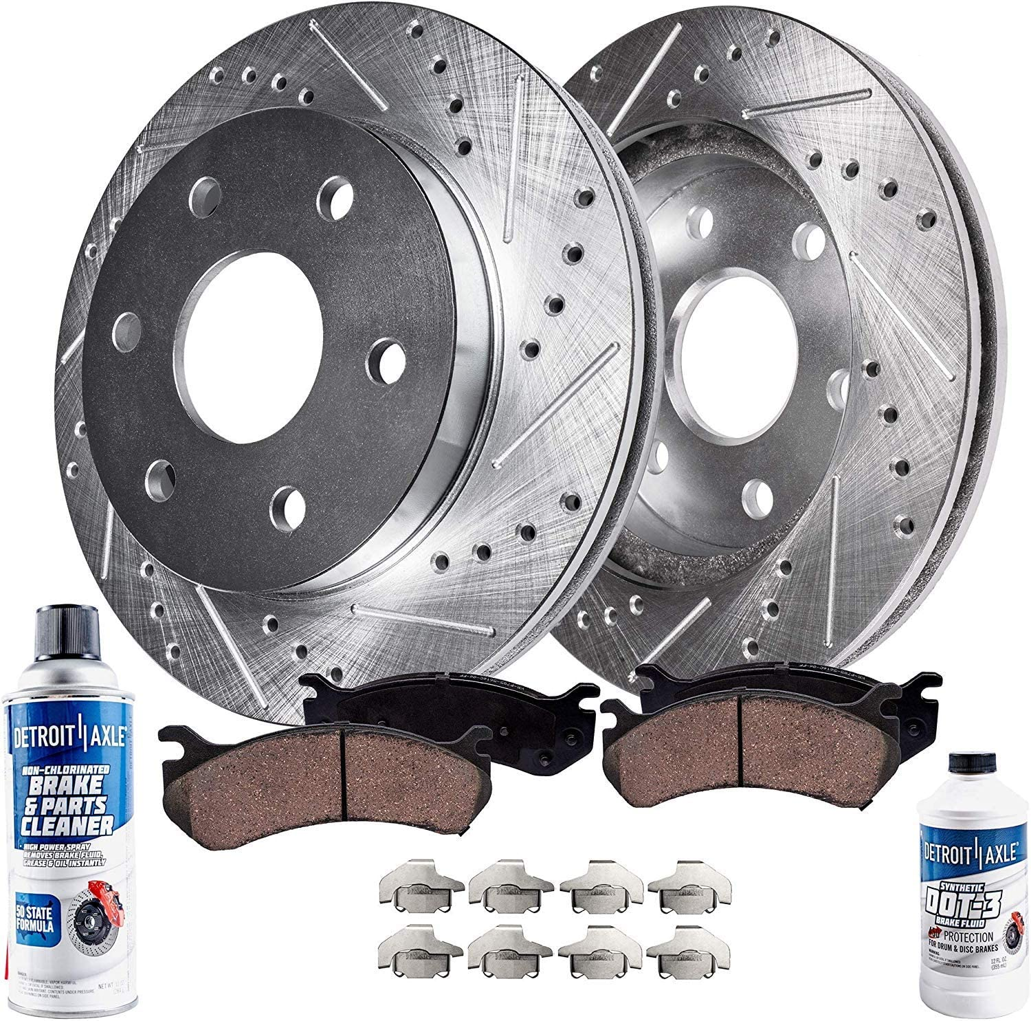 Detroit Axle Front Drilled Slotted Disc Brake Rotors Replacement for Chevy GMC Express Silverado Suburban Savana Sierra Yukon XL 1500 Avalanche Tahoe w//Hardware 6 Lug No Police Pads