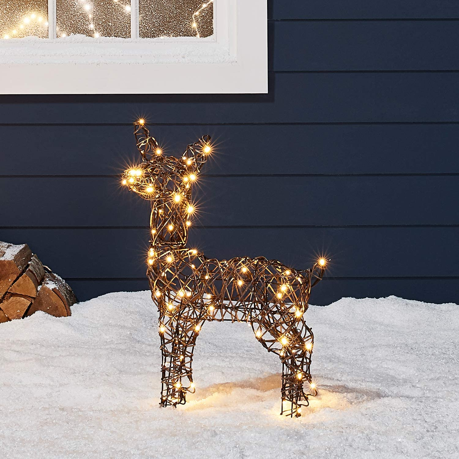 "Lights4fun Inc 23 5"" Rattan Fawn Reindeer LED Christmas Light Up Figures Decoration for Indoor Outdoor Use"