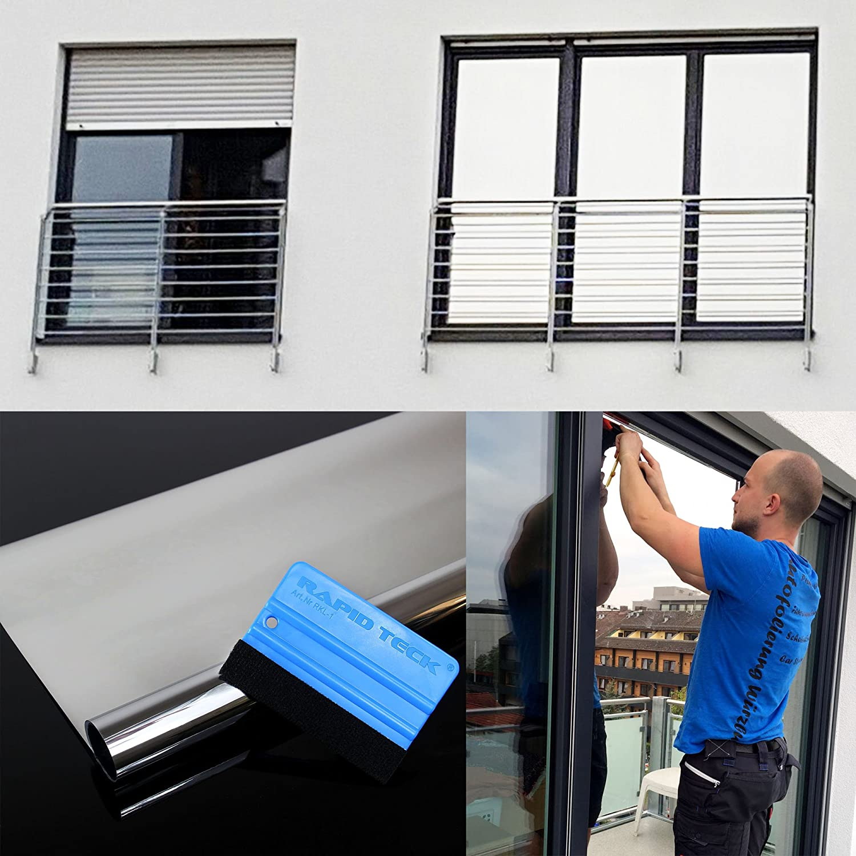 16,45€//m² Spiegelfolie 99/% Tönung 76cm Breite Spionfolie Fensterfolie Silber NEU