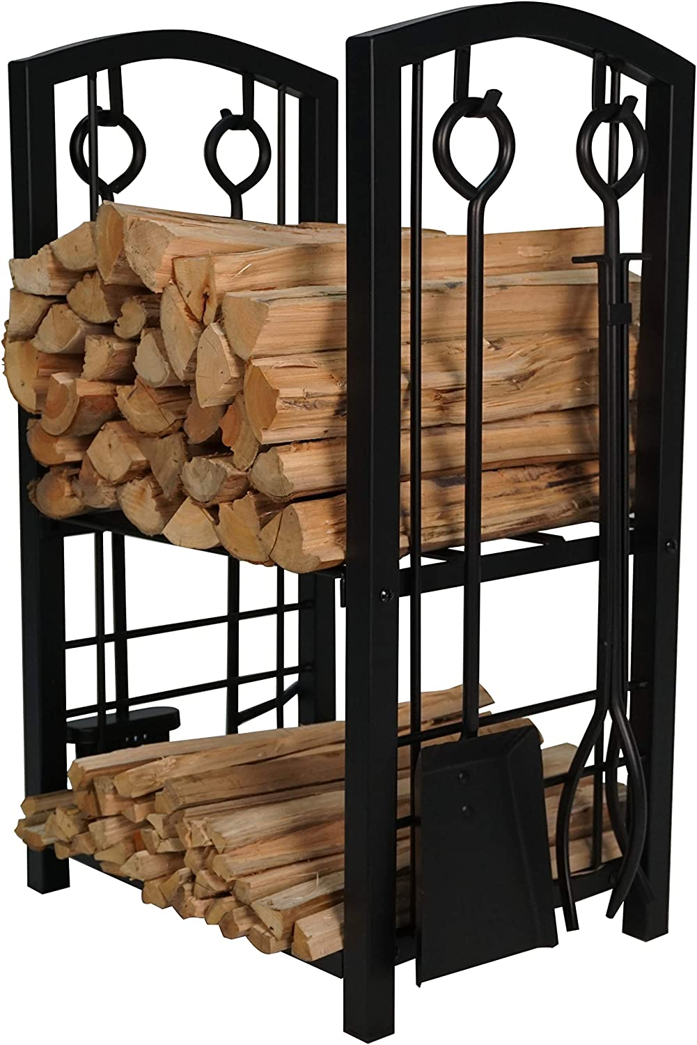 Fire Beauty Fireplace Log Rack with 4 Tools Fireside Firewood Holders Lumber Storage Stacking Black Wrought Iron Heavy Duty Logs Bin Holder for Fireplace Tool