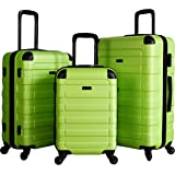 Hipack Prime Suitcases Hardside Luggage with Spinner Wheels, Green, 3-Piece Set (20/24/28)