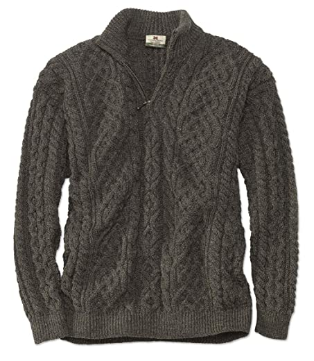 Orvis Mens Black Sheep Quarter Zip Pullover Brown Medium