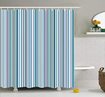 Ambesonne Striped Shower Curtain Set Blue Purple Teal Aqua Lavender Colored Vertical Stripes Geometric Abstract