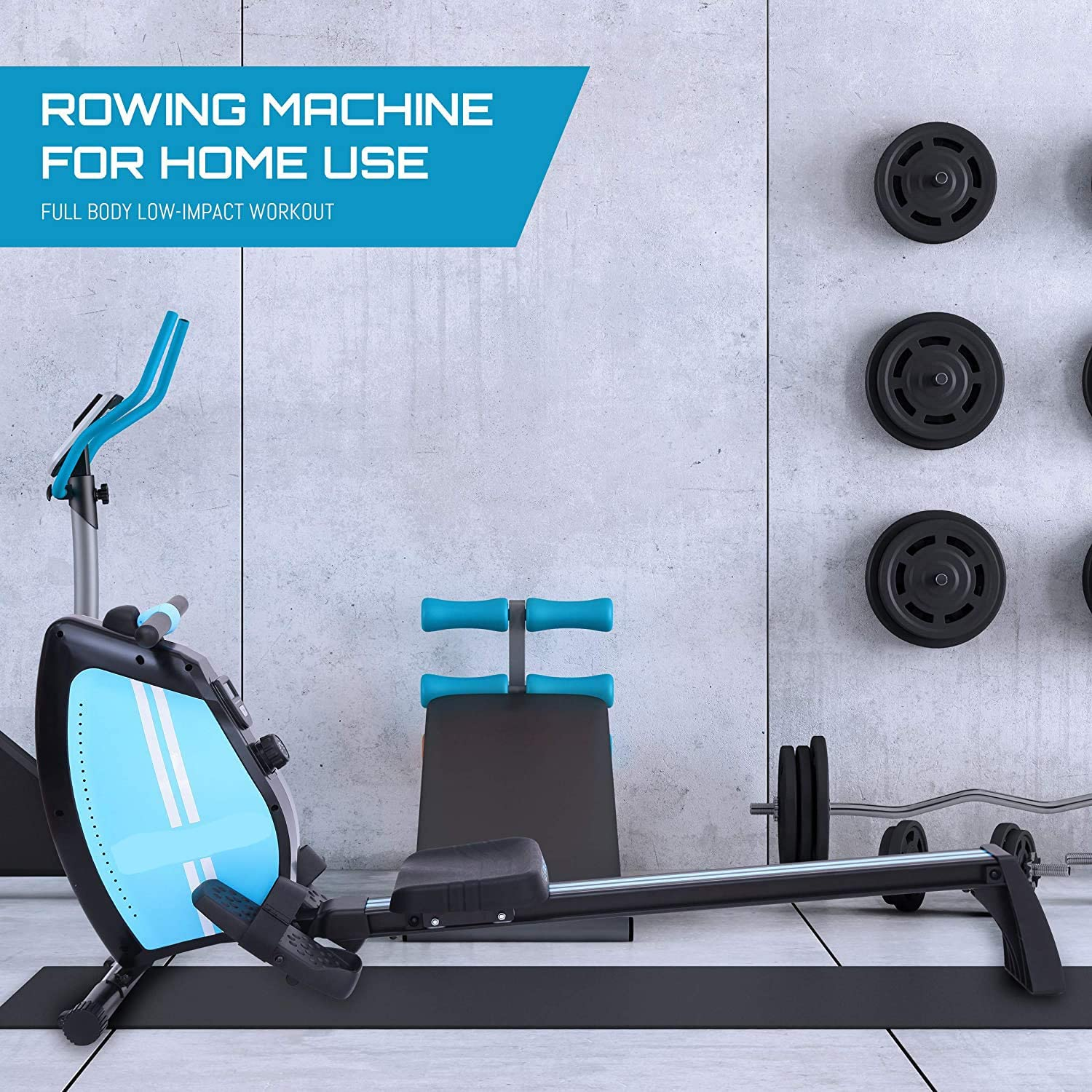 no bland Foldable Rowing Machine for Home Use Air Resistance Rower Silent Magnetic 12 Levels Adjustable Resistance LCD Monitor Fitness Equipment Cardio Workout Indoor
