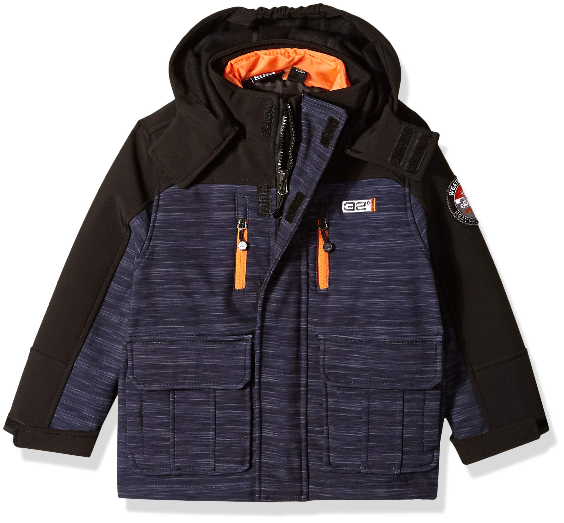 32 DEGREES Weatherproof Boys' Little Outerwear Jacket (More Styles Available), Softshell Systems Charcoal Heather/Black, 4 by 32 DEGREES (Image #1)