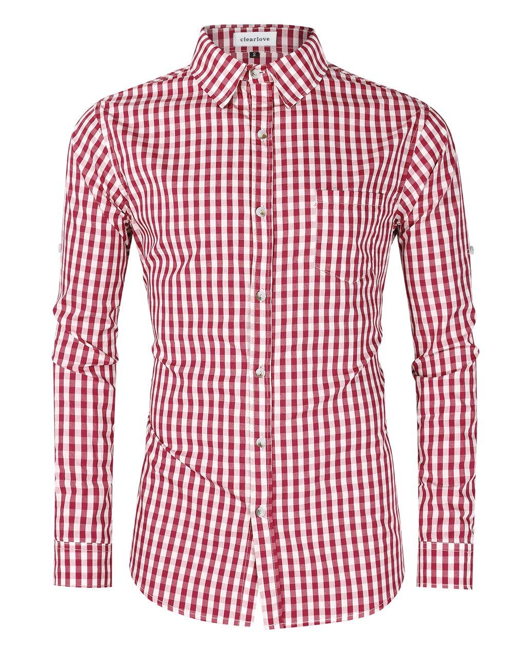 Clearlove Men's Casual Slim Fit Plaid Shirt Button Down Dress Shirts for German Bavarian Oktoberfest Red M