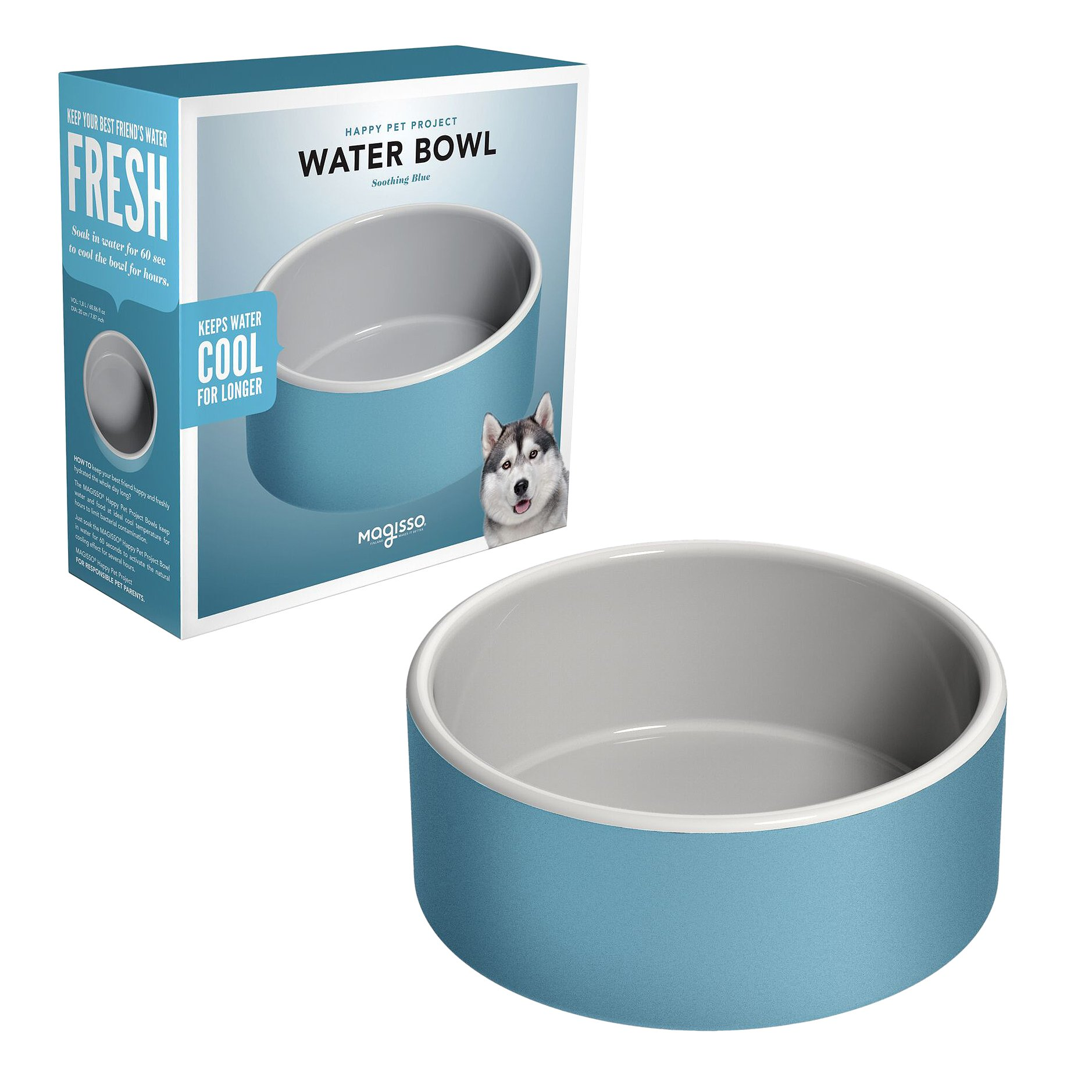 Magisso Happy Pet Project Naturally Cooling Ceramics Water Bowl (Blue, 8 Inch) by Magisso