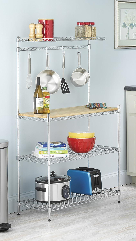 Kitchen shelves for microwave - Amazon Com Whitmor Supreme Baker S Rack Wood Chrome Home Kitchen