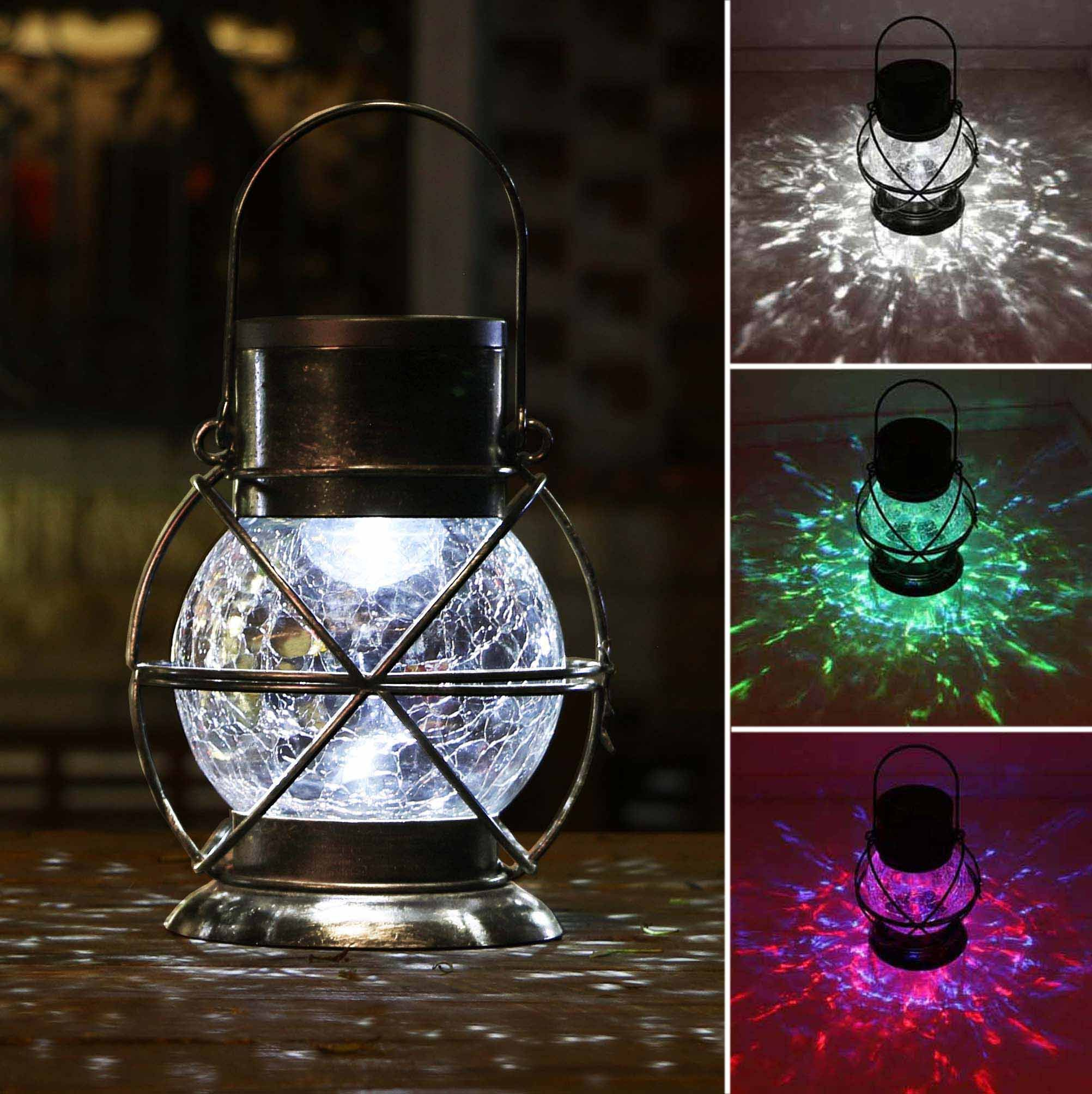 TAKE ME Solar Lantern, Metal & Glass Outdoor Garden Lights,Waterproof Decorative Lamp Color Changing Twinkling Crackle Lights by TAKE ME