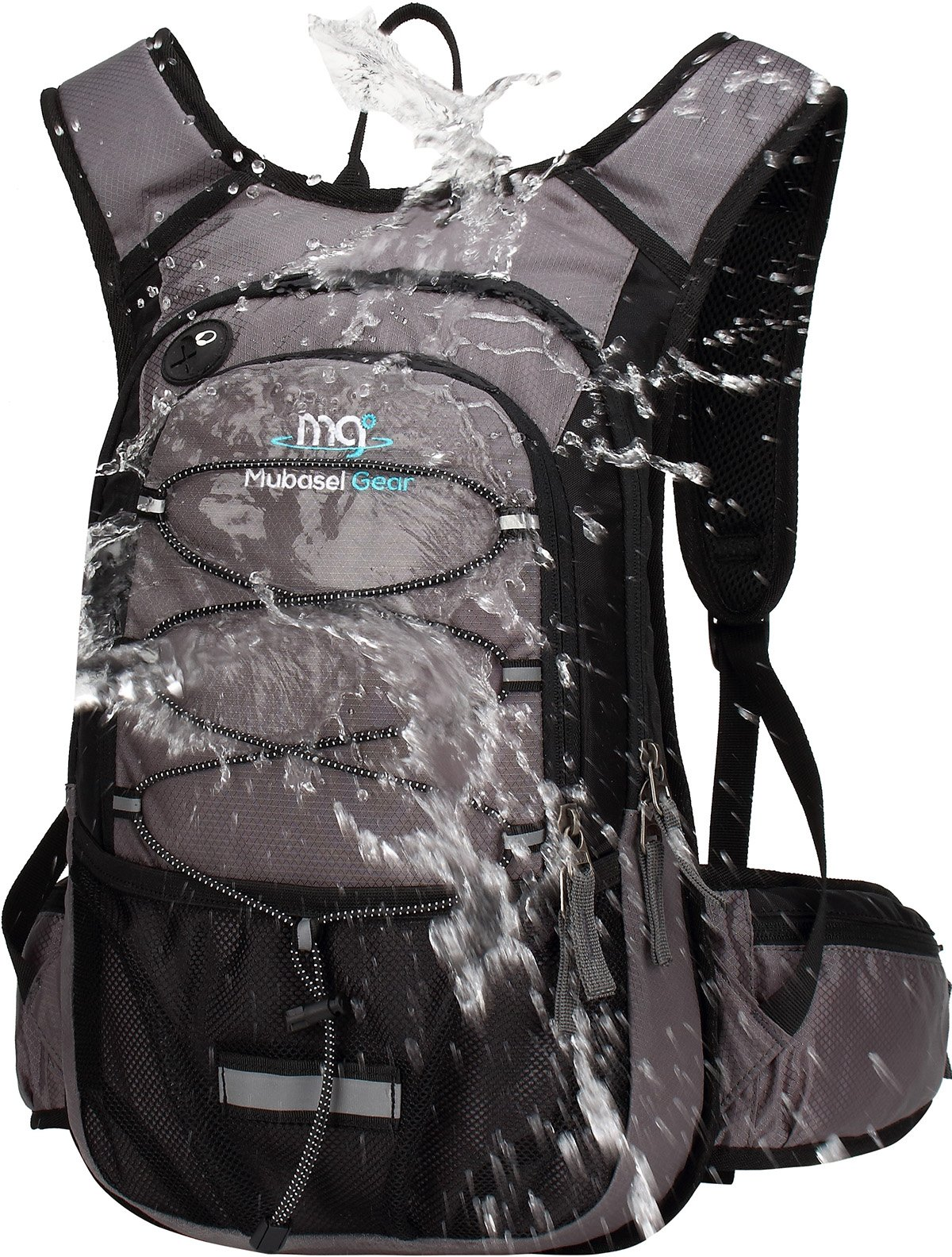 Mubasel Gear Insulated Hydration Backpack Pack with 2L BPA Free Bladder - Keeps Liquid Cool up to 4 Hours - for Running, Hiking, Cycling, Camping (Grey) by Mubasel Gear