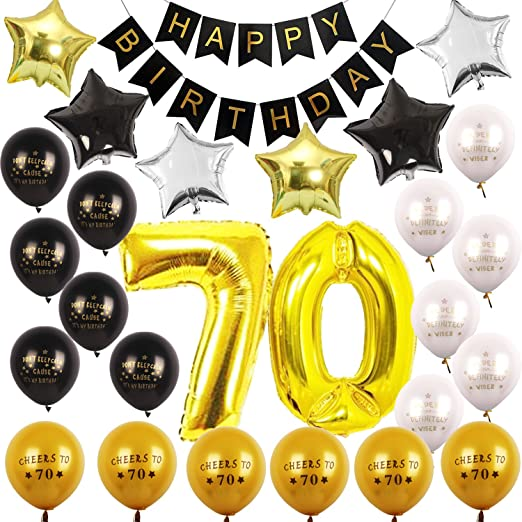 Kit de decoración para fiesta de cumpleaños número 70 ...