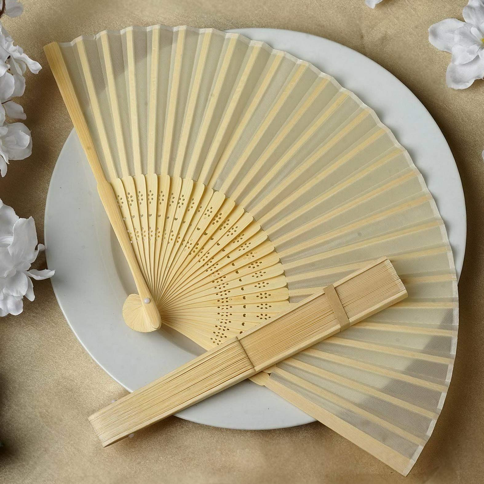 Mikash 100 Silk Folding Handheld Fans Summer Wedding Party Favors Wholesale Decorations   Model WDDNGDCRTN - 16755  