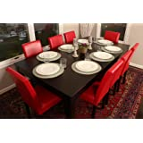 """LIFE Home Formal 9 Piece - 8 Person Butterfly Extension Table 42"""" x 78"""" and Chairs Dining Dinette - 150250 Red Leather Parson Chair"""