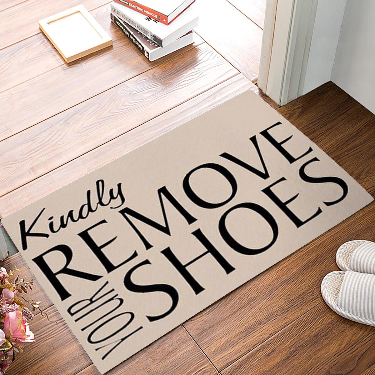 Non-Skid//Slip Back Door Mat Rug Kindly Remove Your Shoes Thin Low Pile Machine Washable Indoor Bathroom Kitchen Hallway Inside Entrance Rugs 18 x 30 KAROLA