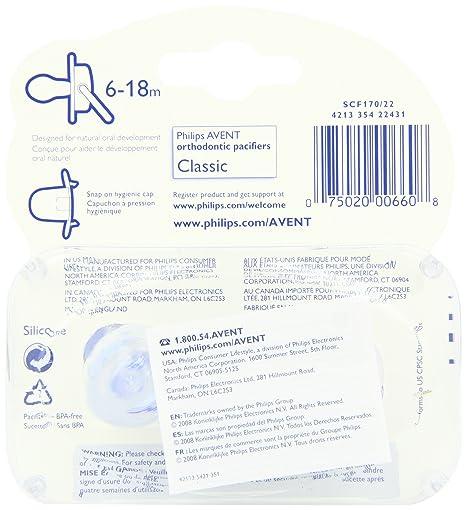 Amazon.com : BPA translúcido Chupete, 6-18 Meses, 2-Pack ...