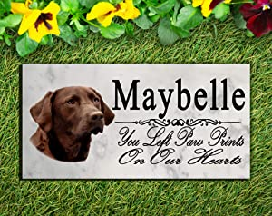 Broad Bay Chocolate Lab Memorial Stone Personalized Labrador Dog Sign Garden Marker Outdoor Grave Headstone Plaque
