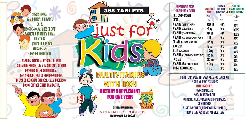 Vitaminas para niños Just for Kids. Suplemento para todo un año.Vitaminas y Minerales para el crecimiento, Memoria y apetito en Forma de Dulce para ...