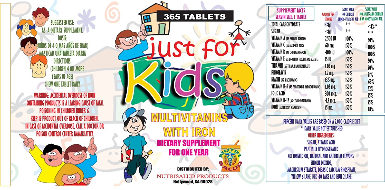 Vitaminas para niños Just for Kids. Suplemento para todo un año.Vitaminas y Minerales para el...