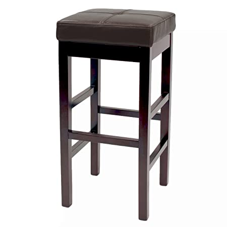 New Pacific Direct Valencia Backless Leather Counter Stool 27 ,Brown Legs,Brown