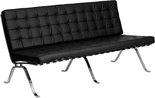 CONTEMPORARY HERCULES FLASH SERIES BLACK LEATHER SOFA WITH CURVED LEGS