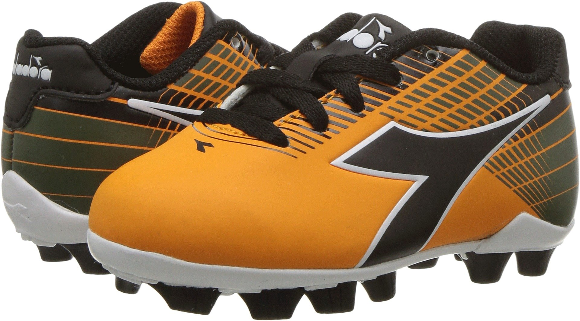 Diadora Kids Unisex Ladro MD Jr Soccer (Toddler/Little Kid/Big Kid) Orange/Black 8 Toddler M