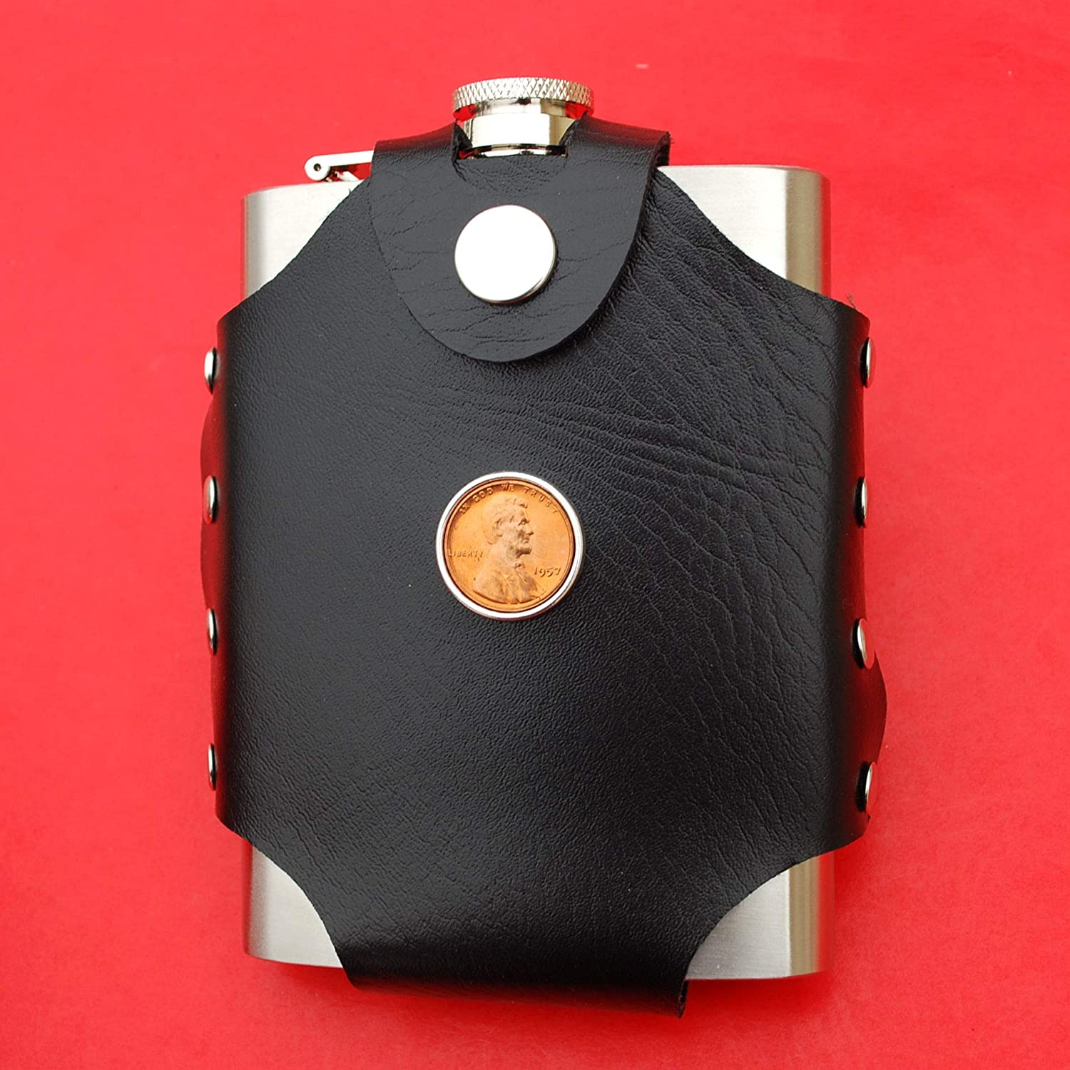 US 1957 Lincoln Penny BU Uncirculated 1 Cent Coin Leak Proof Black PU Leather Wrapped Stainless Steel 8 Oz Hip Flask Water - Lucky Penny Wine etc Liquor
