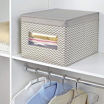 mDesign Caja organizadora de tela grande - Caja para guardar ropa, zapatos, bolsos, etc.- Caja de tela con tapa para ordenar armarios - gris topo/crema: ...