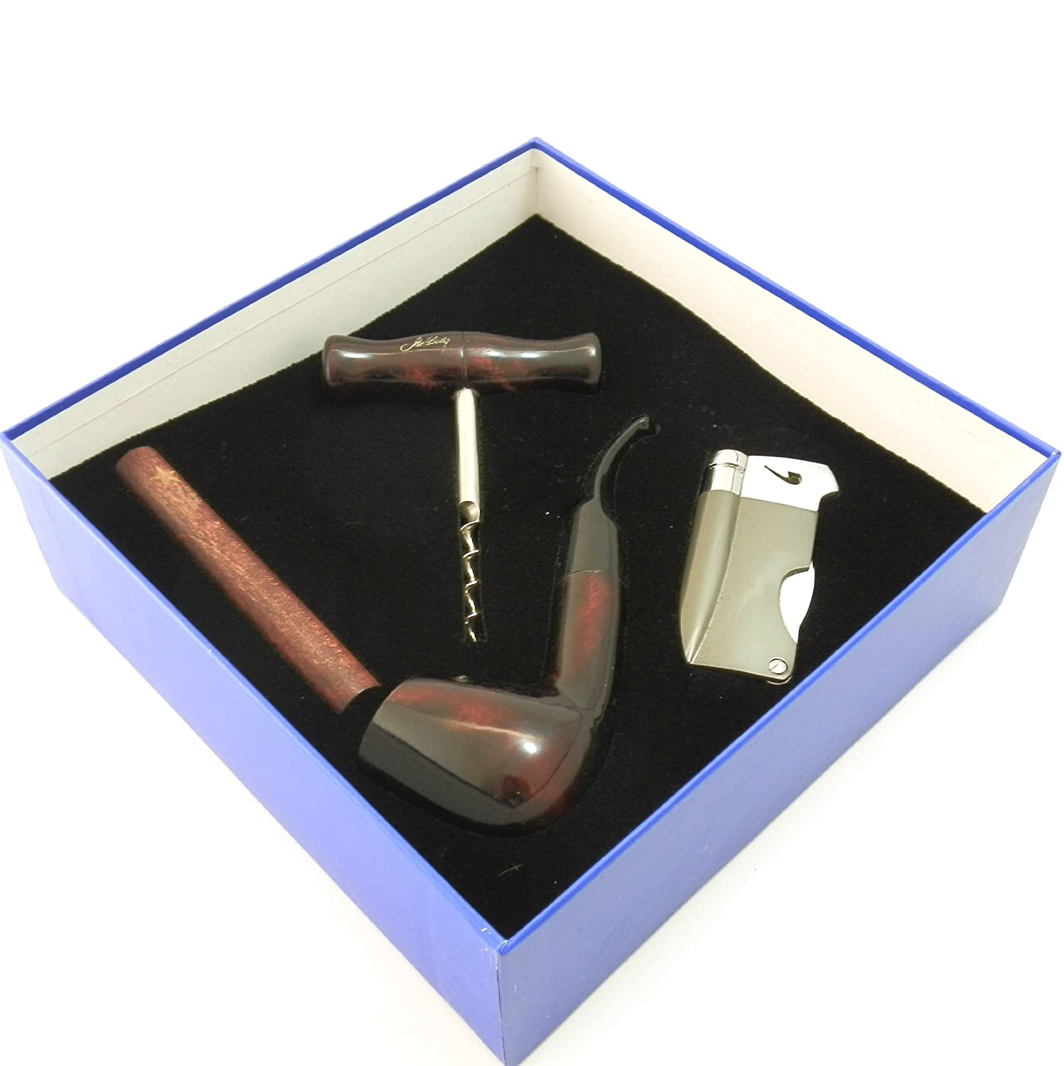 Tobacco Pipe Gift Set - Mr. Brog Silver Collection - Pipe, Stand, Tamper, Lighter w Tool, Wine Opener - Hand Made H&PC-70851
