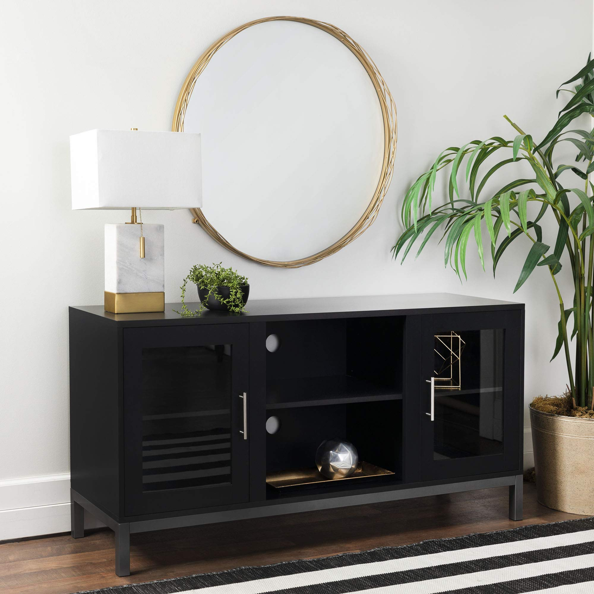 WE Furniture Modern Stand TV's up to 56'' Living Room Storage, Black by WE Furniture