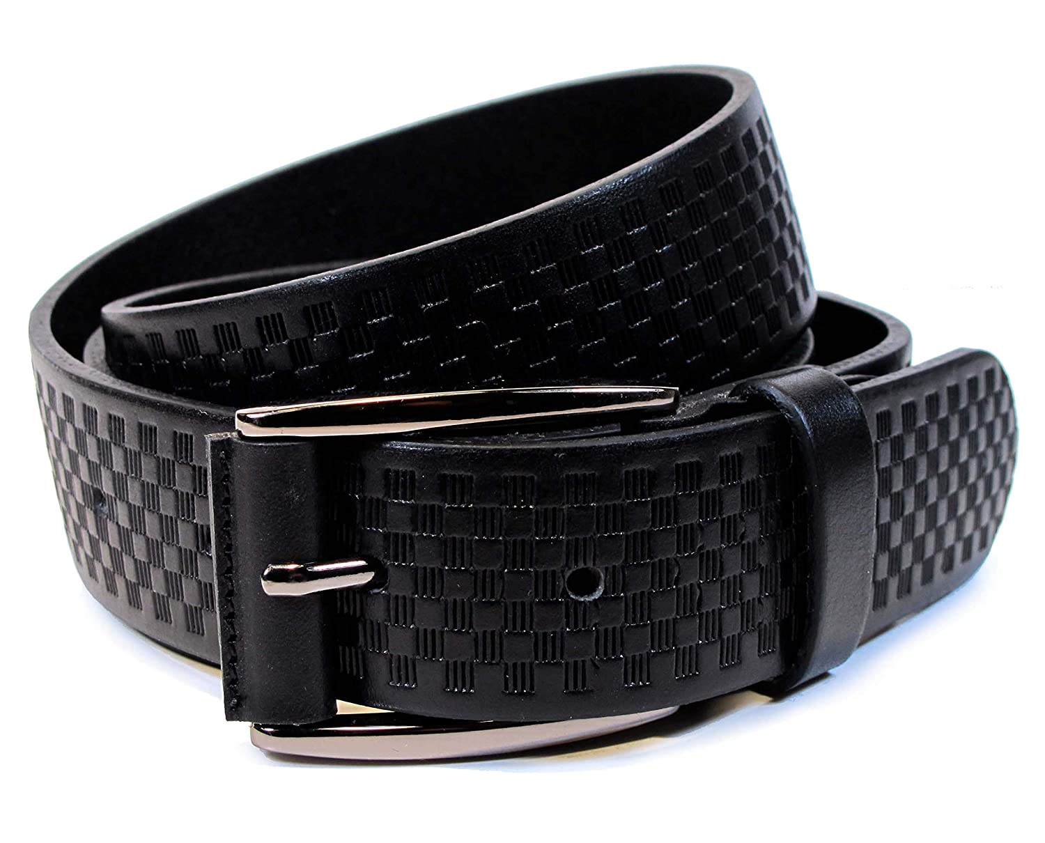 Mens Real Genuine Leather Black Belt 1.25 Wide S-XL Thick Long Casual Jeans CM7
