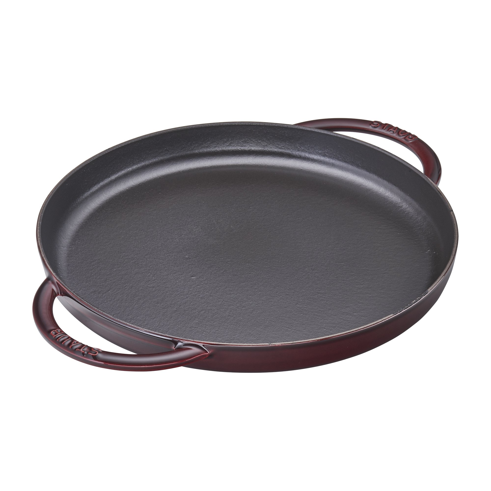 Staub Cast Iron 10'' Round Double Handle Pure Griddle - Grenadine