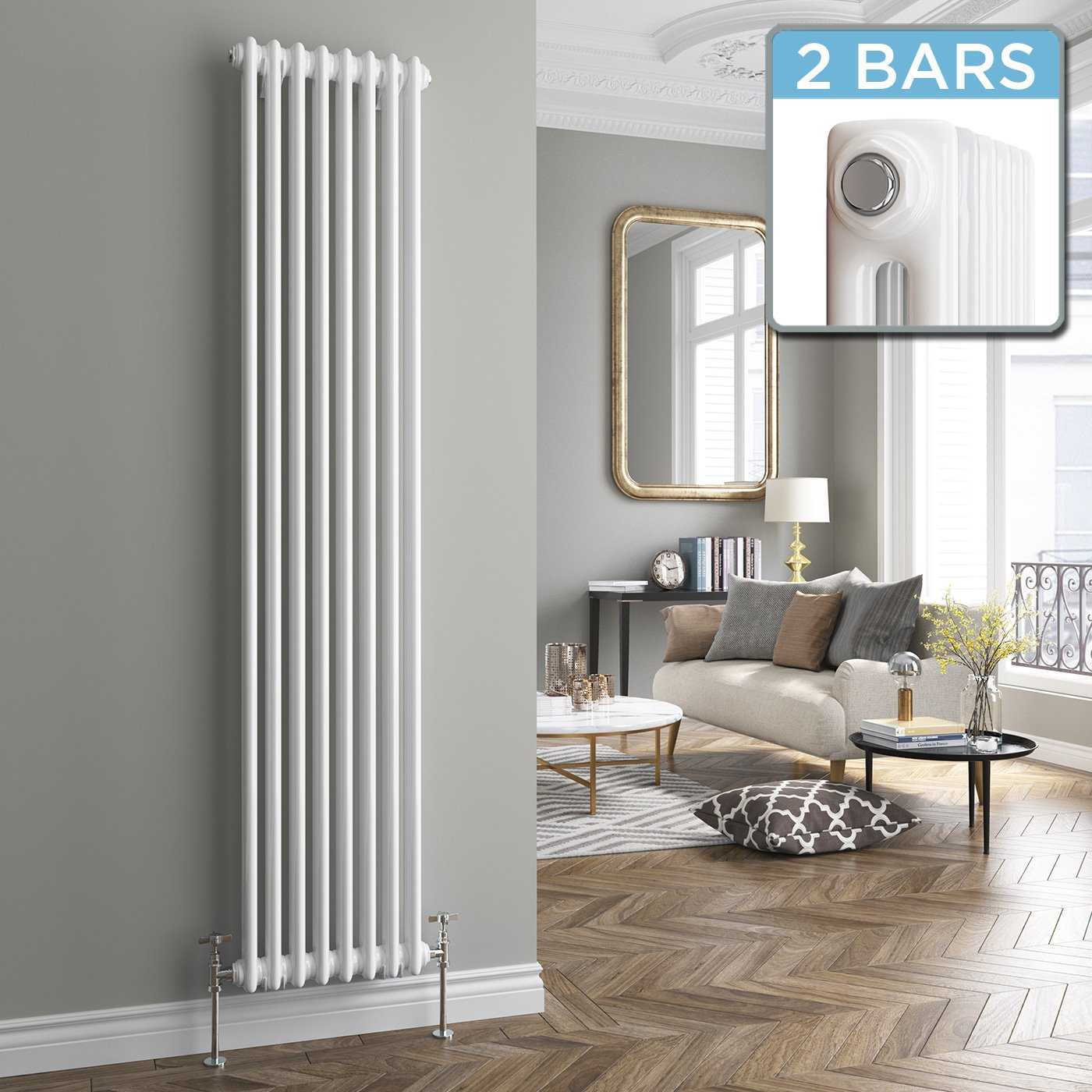 ibathuk 1800 x 376 mm traditional cast iron style vertical