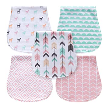 f4a7e29ade9d 5-Pack Baby Burp Cloths for Girls, Triple Layer, 100% Organic Cotton