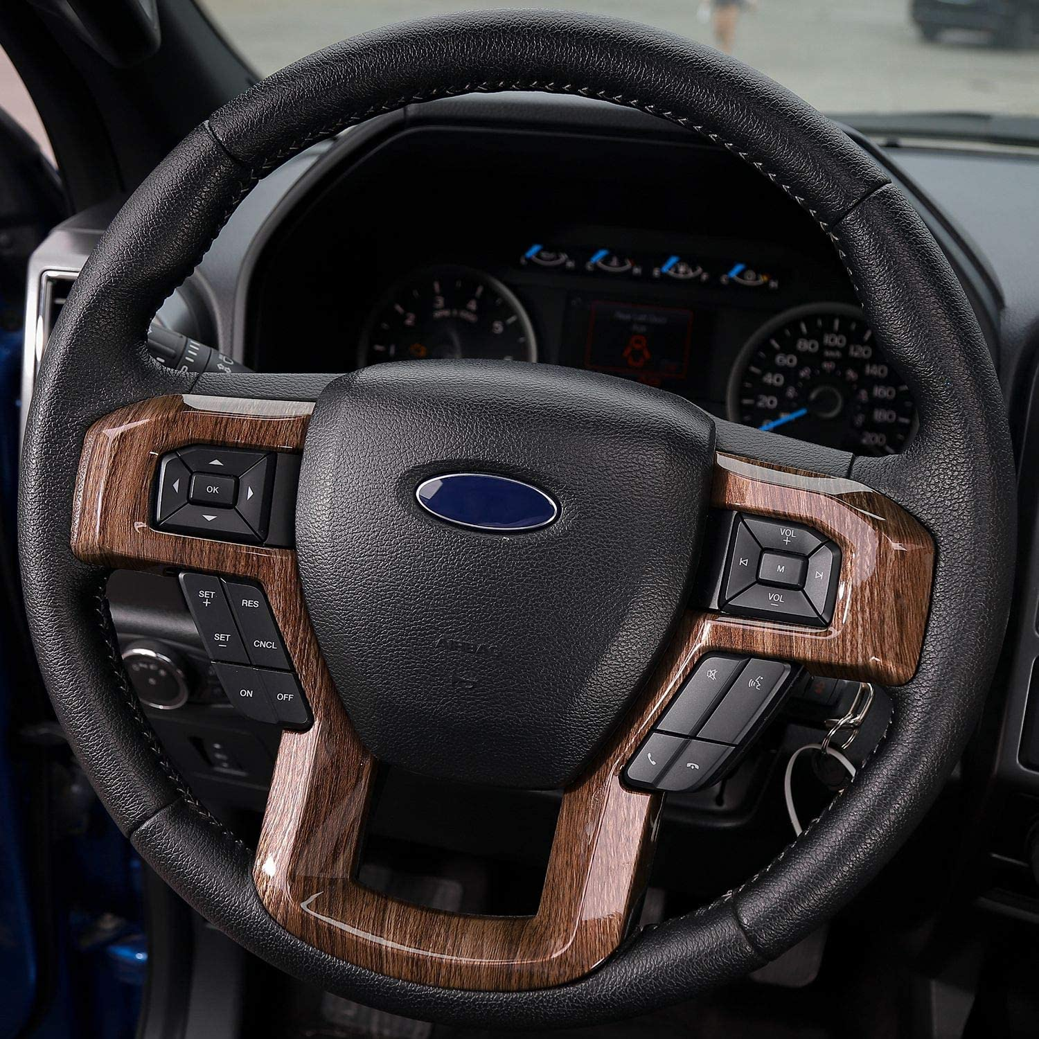 Wood Grain JeCar Steering Wheel Trim Bezel Cover Trim Frame Decorative Interior Accessories for Ford F150 F250 F350 2015 2016 2017 Super Duty