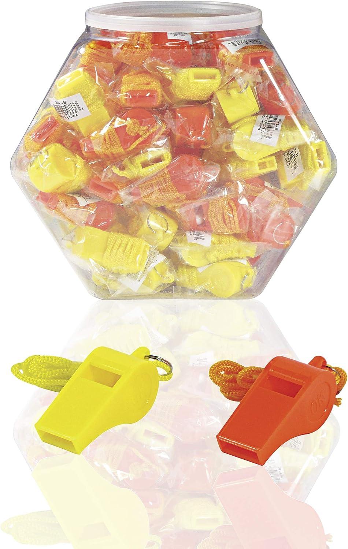 "SE Orange Plastic Whistles with 14"" Lanyards (100 PC.) - WH3-B-100"