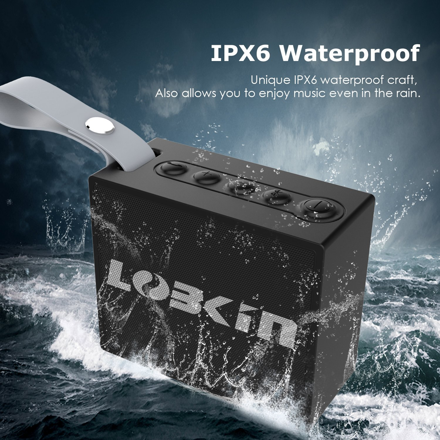 LOBKIN Portable Wireless Bluetooth Speaker with 5W Audio Driver,IPX6 Water Resistant Outdoor Bluetooth V4.1 HiFi Speaker with Enhanced Bass,8 Hours Playing Time,for Outdoor& Indoor (Black)
